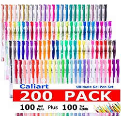 Caliart 200 Gel Pens for Adult Coloring Books-Coloring Pens 100 Count plus 100 Refills Pack(0.6-1.0 mm) with Gel Glitter Pens and Metallic Neon Pastel Flouro Glitter Classic Swirl Pens