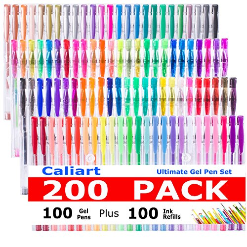 CLEARANCE SALE!Caliart 200 Gel Pens Coloring Set - 100 Gel Colored Pen plus 100 Refills for Adults Coloring Books, Drawing, - Gel Pens Colorful Glitter