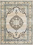 Cheap Well Woven Mughal Blue Medallion Modern 5×7 (5'3″ x 7'3″) Area Rug Beige Ivory Vintage Floral Oriental Carpet