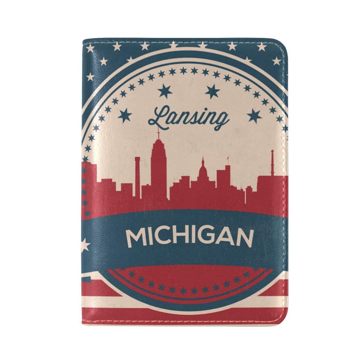 Vintage American Flag Michigan State Lansing Skyline Leather Passport Cover - Holder - for Men & Women - Passport Case