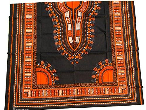 RaanPahMuang African Dashiki Black Cotton Fabric Suitable for 1 Shirt Design, Lava Orange