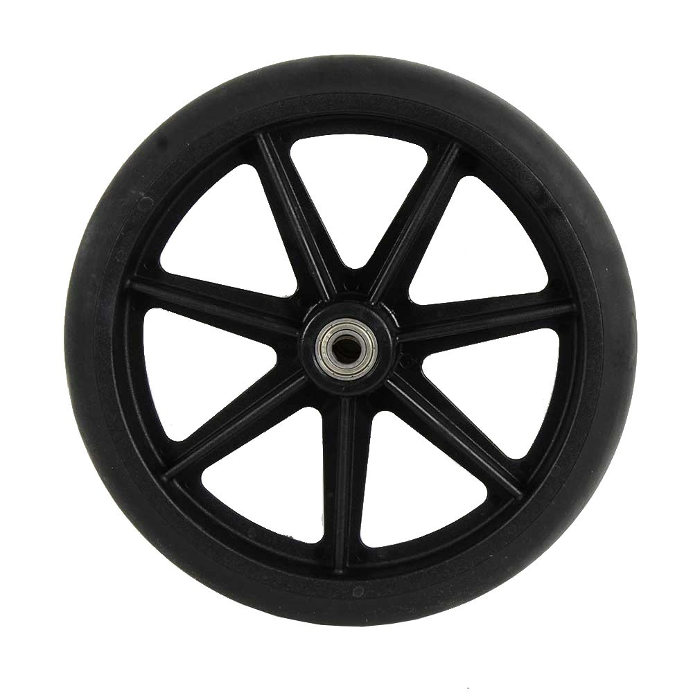 8 inch by 1 inch Black Replacement Wheel for Wheelchairs, Rollators, Walking Frames and More, 8'' by 1'' Solid Flat Free Black Caster.
