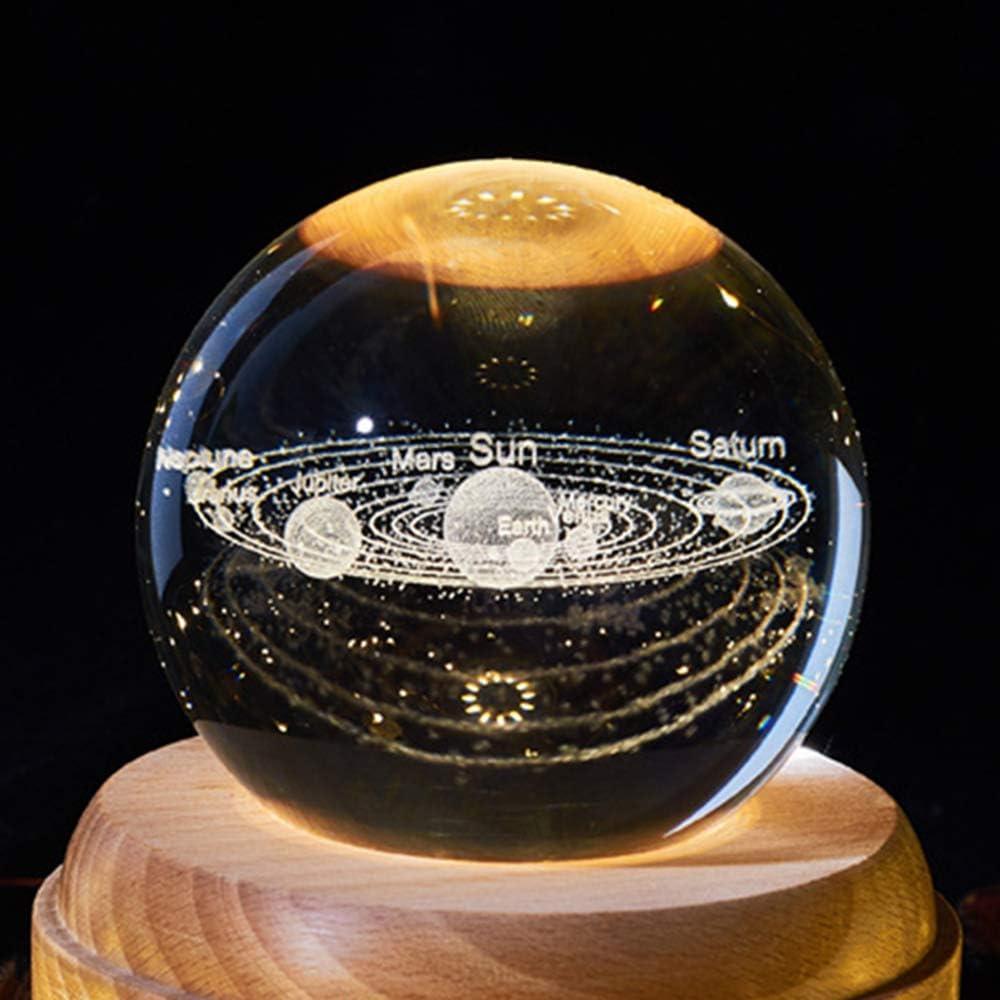 TiooDre Moon Rotary Crystal Ball Night Light Wooden Music Box Creative Christmas Gift for Kids