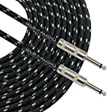 GLS Audio 20 Foot Guitar Instrument Cable - 1/4-Inch TS to 1/4-Inch TS 20 FT Black Gray Tweed Cloth Jacket - 20 Feet Pro Guitar Cord 20\' Phono 6.3mm Cord - SINGLE