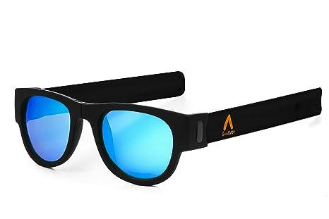 SUNDAM. Gafas de Sol polarizadas Efecto Espejo, Plegables y enrollables UV400. Bolsa Microfibra. Slap,Folding.