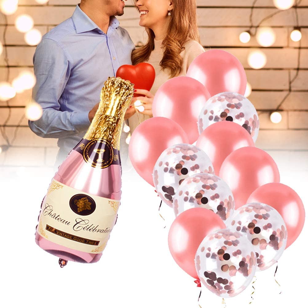 Kit de Globos de Botella de champán, Botella de Vino de champán, Globo de Oro Rosa Reutilizable, Ideal para Bodas, cumpleaños, Bodas, Baby Shower, decoración de Fiestas de Invierno
