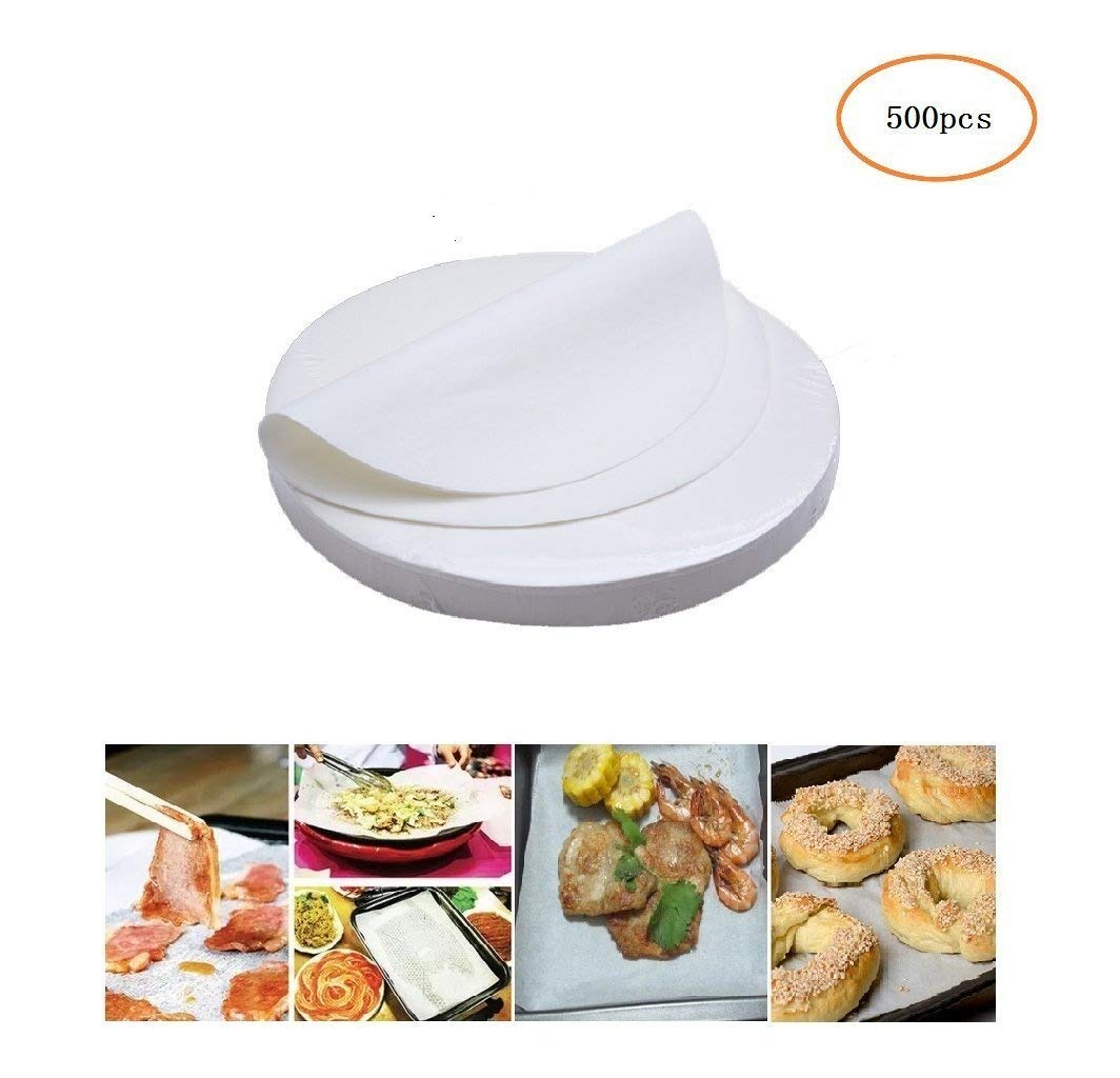 (Set of 500) Non-Stick Round Parchment Paper 8 Inch Diameter, Baking Paper Liners Round for Cake Pans Circle