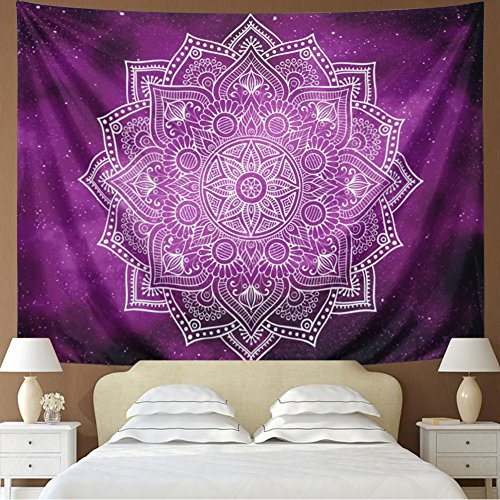 Dupetoner Tapestry Mandala Tapestry Wall Hanging Indian Hippie Bohemian Tapestries Tapestries Purple Starry Sky Tapestry Flower Wall Tapestry Psychedelic Mandala Tapestry Galaxy Tapestry Dorm Decor