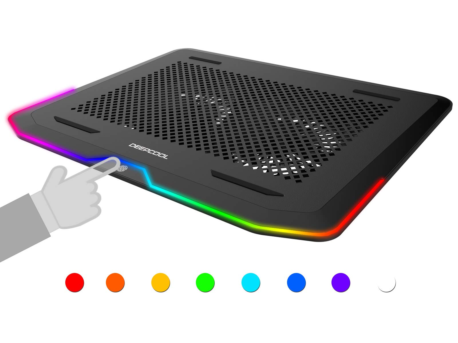 DEEPCOOL N80 RGB Laptop Cooling Pad, 16.7 Million RGB Colors LED, Pure Metal Panel, Two 140mm Fans, Two Adjustable Angels, Two USB 3.0 Ports, Capacitive Touch Key, up to 17.3'' Notebooks