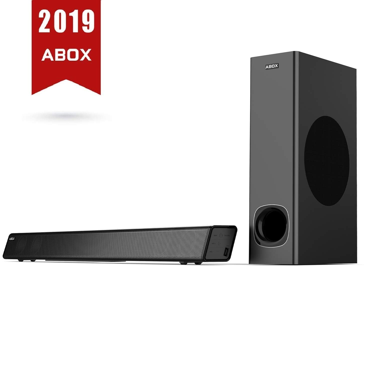 Sound Bar with Subwoofer, ABOX Soundbar for TV 34 Inch 120W 2.1 Channel Speaker, Wireless & Wired Bluetooth 4.2 Sound Bars, Home Theater Surround Sound, Touch and Remote Control, Wall Mountable by GooBang Doo (Image #1)