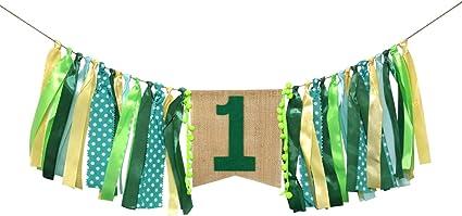 Boy Girl 1st First One Happy Birthday Jungle Leaf High Chair Banner Decor Gift