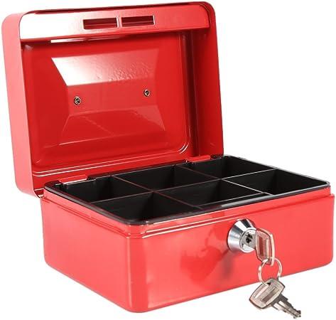 Caja Fuerte portátil Cajas de caudales Caja de Dinero pequeña con Cerradura de Llave, Caja de Seguridad portátil de Almacenamiento de Monedas de Metal de Doble Capa(Rojo): Amazon.es: Hogar
