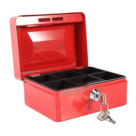 Caja Fuerte portátil Cajas de caudales Caja de Dinero pequeña con Cerradura de Llave, Caja de Seguridad portátil de Almacenamiento de Monedas de Metal de Doble Capa(Negro): Amazon.es: Hogar