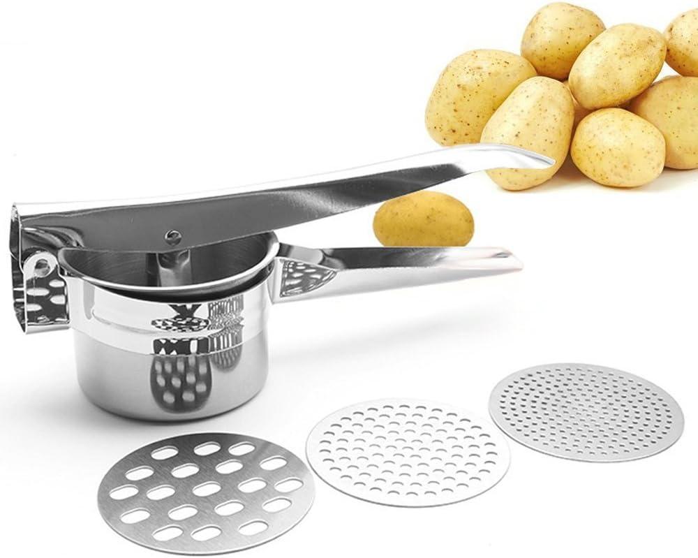 gnocchi e spaetzle Zujara set schiacciapatate con grattugia in acciaio inox e 3 dischi intercambiabili per omogeneizzati ottimo come spremi frutta pur/è di verdure o cavolfiori