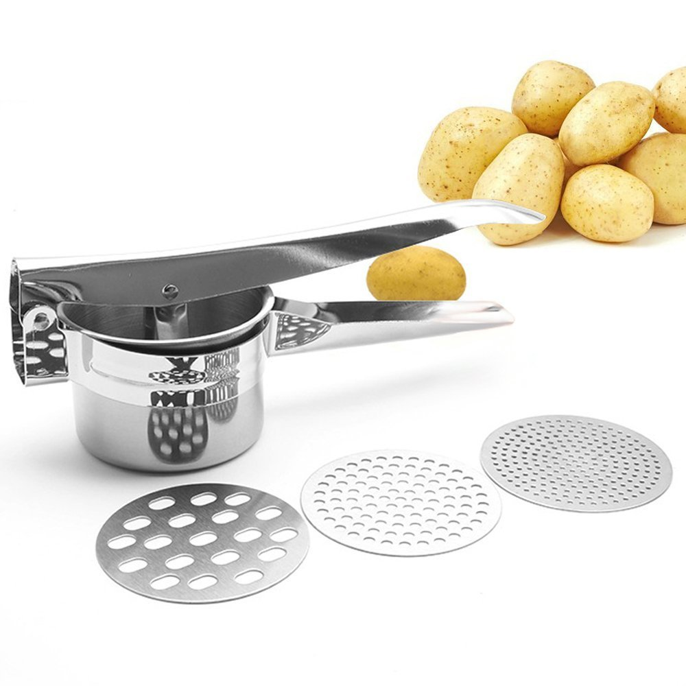 FUKTSYSM Potato Ricer - Multifunctional Professional Stainless Steel Ricer Masher Heavy Duty Food Press for Fruit Vegetable with 3 Pieces Replaceable Strainer (Fine Medium Coarse) (Silver)