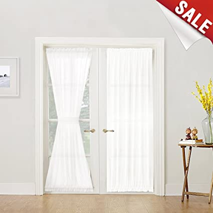 French Door Curtain Panel Linen Look Panels 72 Inch White Sheer Curtains For