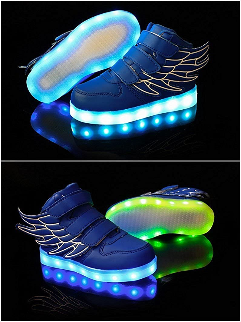 Value Sport Unisex Kid Boy Girl LED Flashing Light USB Charge Shoes Athletic Wings Sport Sneakers