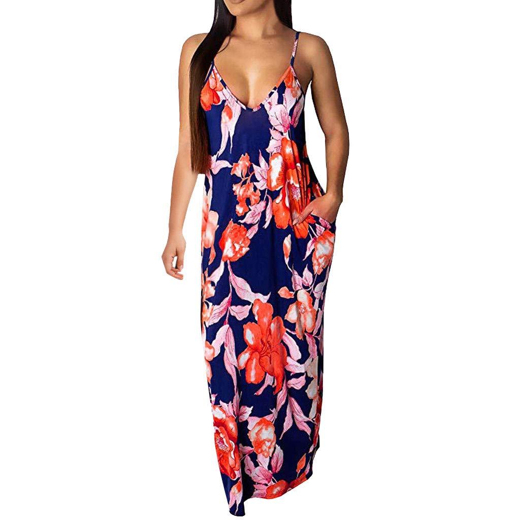 IEasⓄn Women's Summer Dress Sexy V Neck Sleeveless Dress Floral Print Pockets Maxi Party Beach Dress