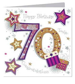 Large Luxury Handmade 70th Birthday Card
