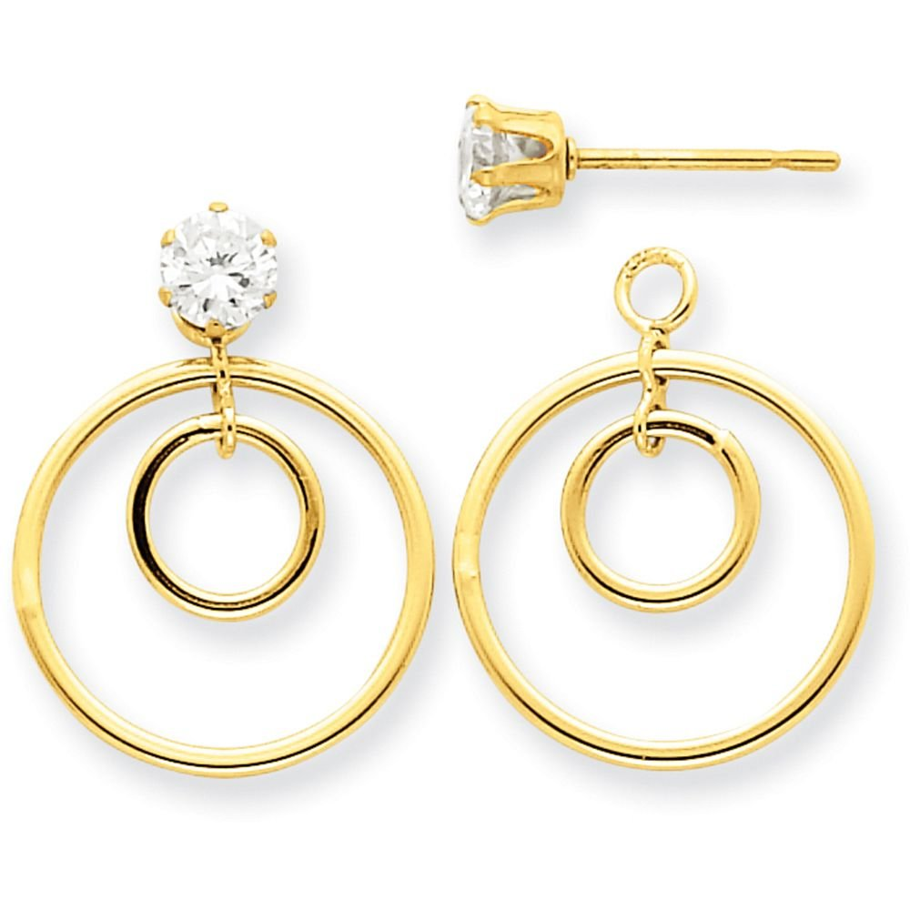 14k Gold Polished Double Circle Dangle Jackets for Stud Earrings (0.79'' Height) - Yellow-Gold
