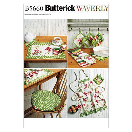 BUTTERICK PATTERNS B5660 Apron, Hot Pads, Pot Holders, Place Mat, Napkin and Seat Cushion