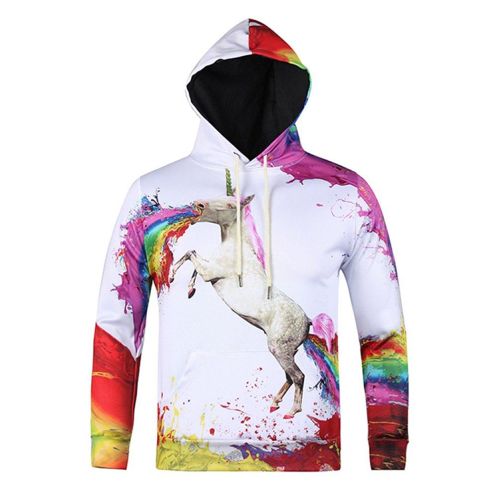 3D Print Unicorn Hoodie Langarm-Sweatshirt Für Herren Mit Großen Taschen