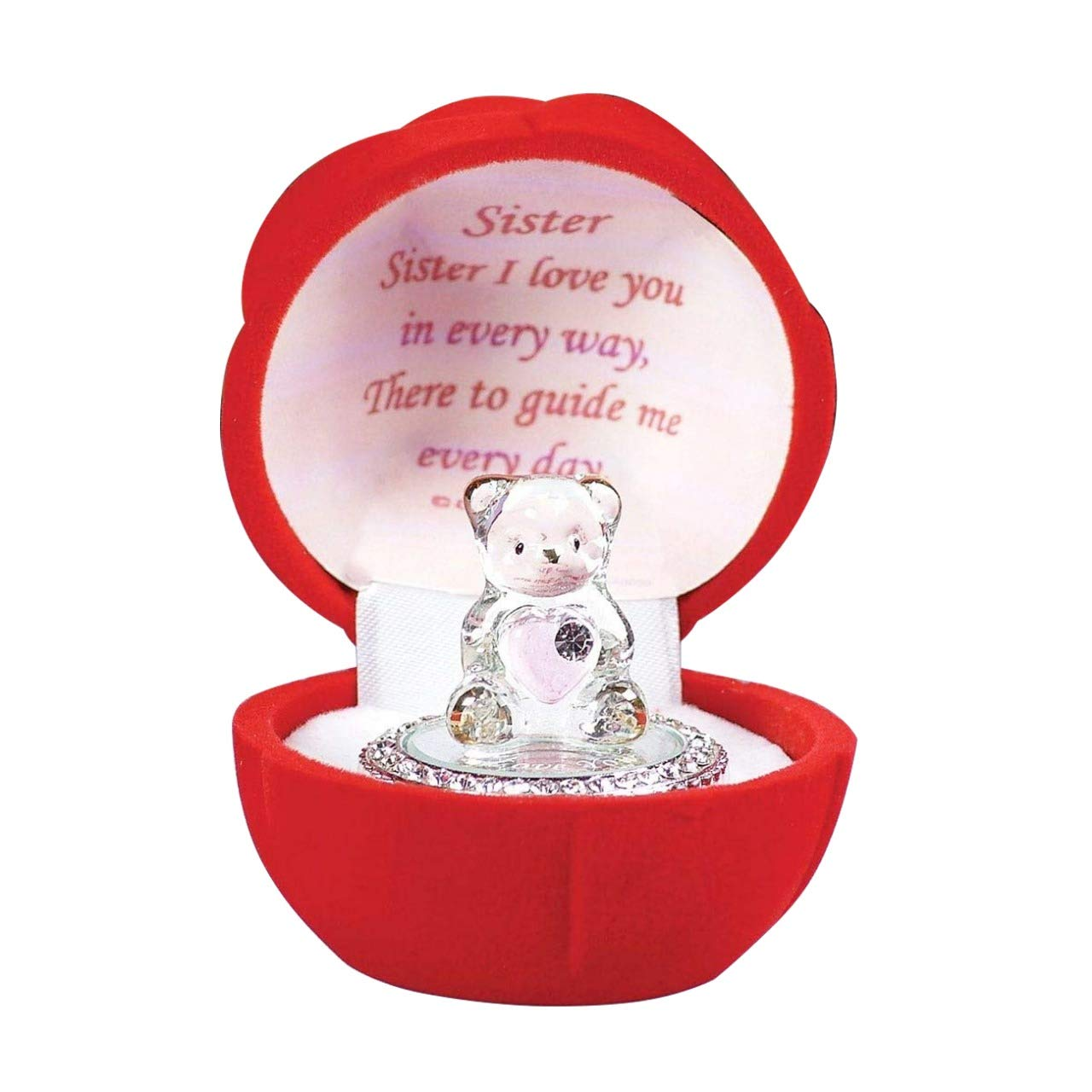 Glass bear in Red Rose Box for a Special Sister Gift Birthday, Christmas, Any Occasion Present Safri®