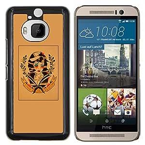 Arte Hippie Libertad 60'S Retro de la guirnalda- Metal de aluminio y de plástico duro Caja del teléfono - Negro - HTC One M9+ / M9 Plus (Not M9)