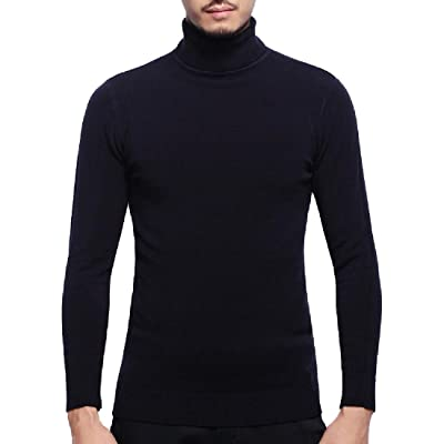 Abetteric Men's Solid Long Sleeve Turtleneck Knit Pullover Top Sweater