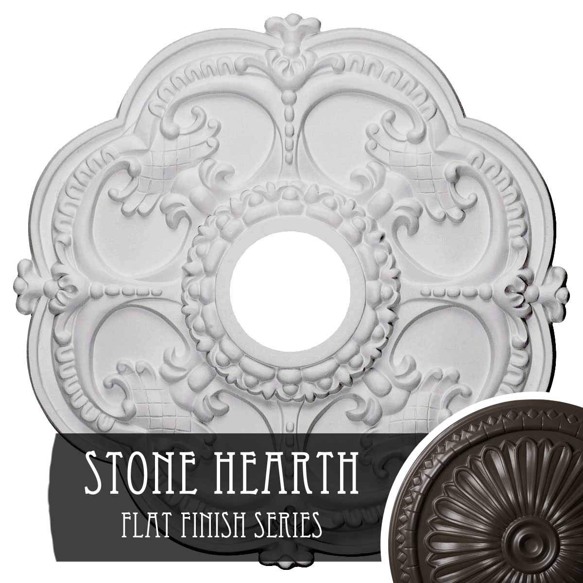 Stone Hearth Ekena Millwork CM17ROUWF redherham Ceiling Medallion, 18 OD x 3 1 2 ID x 1 1 2 P, Ultra Pure White