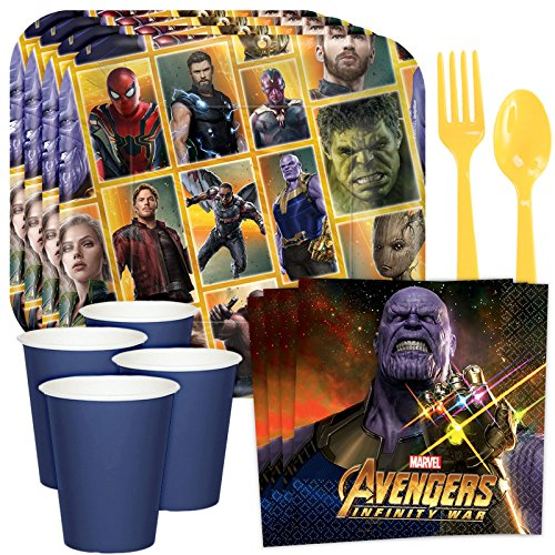 Marvel Legends Avengers Infinity War Party Set For 8 Guests  Superhero Plates  Napkins  Cups And Silverware  Iron Man  Hulk  Captain America  Guardians Of The Galaxy Boys Birthday Party Supplies Kit