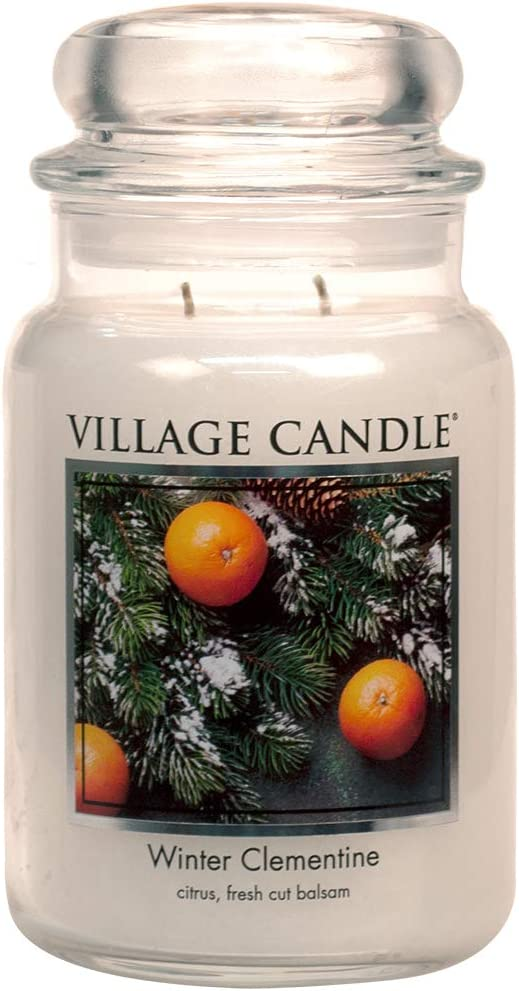 Village Candle Winter Clementine Large Glass Apothecary Jar Scented Candle, 21.25 oz, White