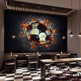 Ohcde Dheark Papel De Parede Custom 3D Mural Wallpaper 3D Stereo Flame Soccer Photo Wallpaper Theme Bar Internet Bar Ktv Backdrop Fresco 200cmX140cm(78.7 by 55.1 in )
