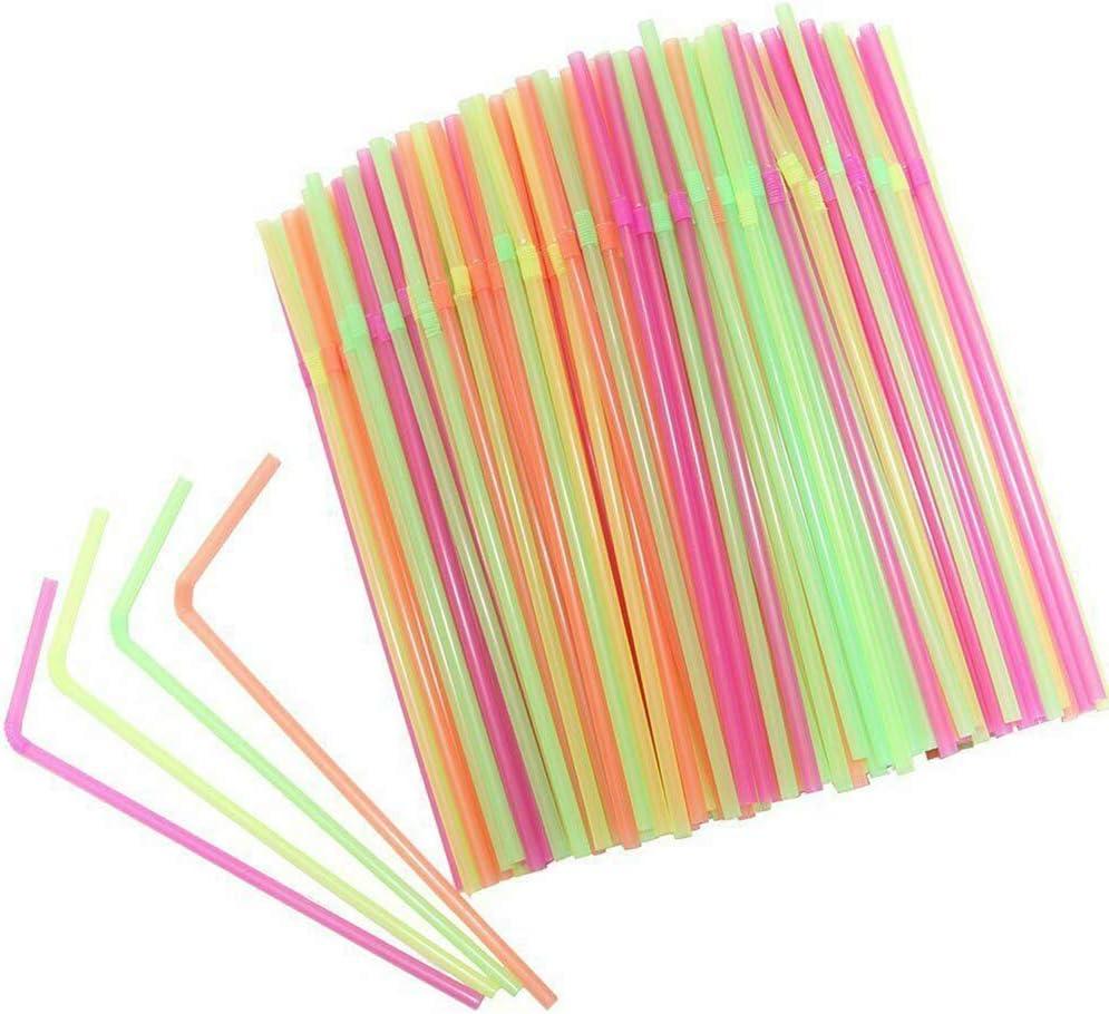 maylace Lot de 100 pailles color/ées en Plastique courb/ées