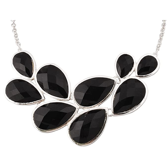 JANE STONE Black Party Jewelry Fashion Statement Pendant Necklace for Women (Fn0564-S-Black)