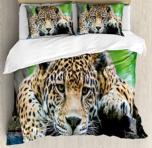 Ambesonne Jungle Duvet Cover Set Queen Size, South American Jaguar Wild Animal Carnivore Endangered Feline Safari Image, Decorative 3 Piece Bedding Set with 2 Pillow Shams, Orange Black Green