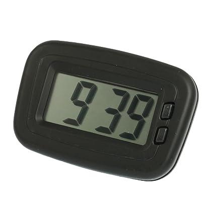 Plástico Caso 2 Botón Pantalla LCD Reloj Digital w Base de Adhesivo Negro