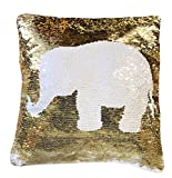 16''x16'' with INSERT Mermaid Sequin Pillow Color Changing Pillows Reversible Flip Sequins Perfect Color Changing Throw Pillow for Home Decor Great Gift for all White Gold Elephant