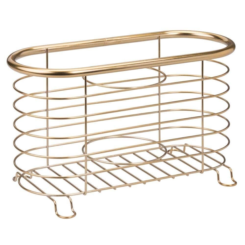 Curling Wands Rose Gold mDesign Bathroom Countertop Storage Organizer Basket for Hair Dryer Flat Irons
