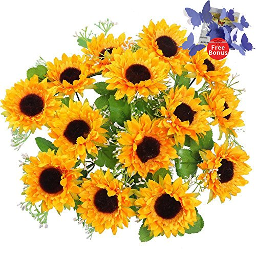 AmyHomie Artificial Flowers, Silk Sunflowers, 2 bunches/Pack Artificial Sunflowers