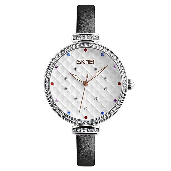 reloj analógico gris de moda para las mujeres marcadores de línea del arco iris blancos limpios mostrar reloj de cuero con clase: Amazon.es: Relojes