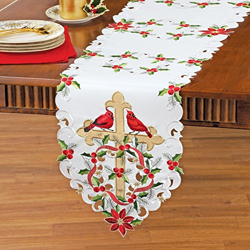 Collections Etc Embroidered Poinsettia And Cross Table Linens, Runner Christmas Poinsettia Cross