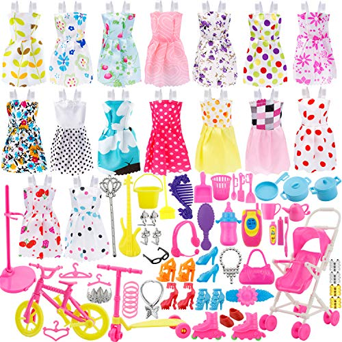ONEONEY Total 114pcs - 16 Pack Clothes Party Gown Outfits for Barbie Dolls+ 98pcs Dolls Accessories Shoes Bags Necklace Mirror Hanger Tableware by Janyun