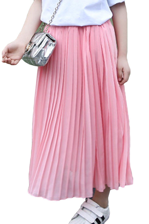 Aulase Girl's Dress Pleated Dress Bohemian Beautiful Maxi Dress Elastic Waistband Dress Pink 5-6Y/Tag 130cm