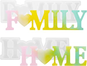 Word Sign Mold - Home & Family Molds, Gartful Silicone Epoxy Resin Word Molds, Letters Crystal Resin Molds, Resin Casting Molds for Home Desk/Table/Room Decor/Wall Art/Wall Hanging/Weddings