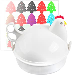 Jree Ash Microwave Egg Cooker, Plastic Egg Steamer with 4 Eggs Capacity, Functional Utility Kitchen Gadgets to Cook Soft and Hard Boiled Egg, Chicken Shape, White