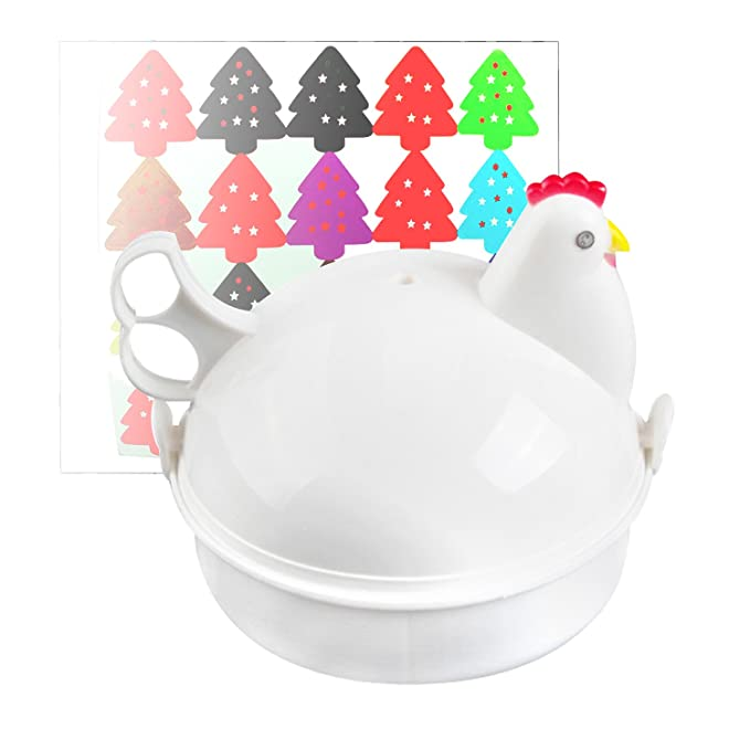 Jree Ash Microwave Egg Cooker, Plastic Egg Steamer with 4 Eggs Capacity, Functional Utility Kitchen Gadgets to Cook Soft and Hard Boiled Egg, Chicken ...