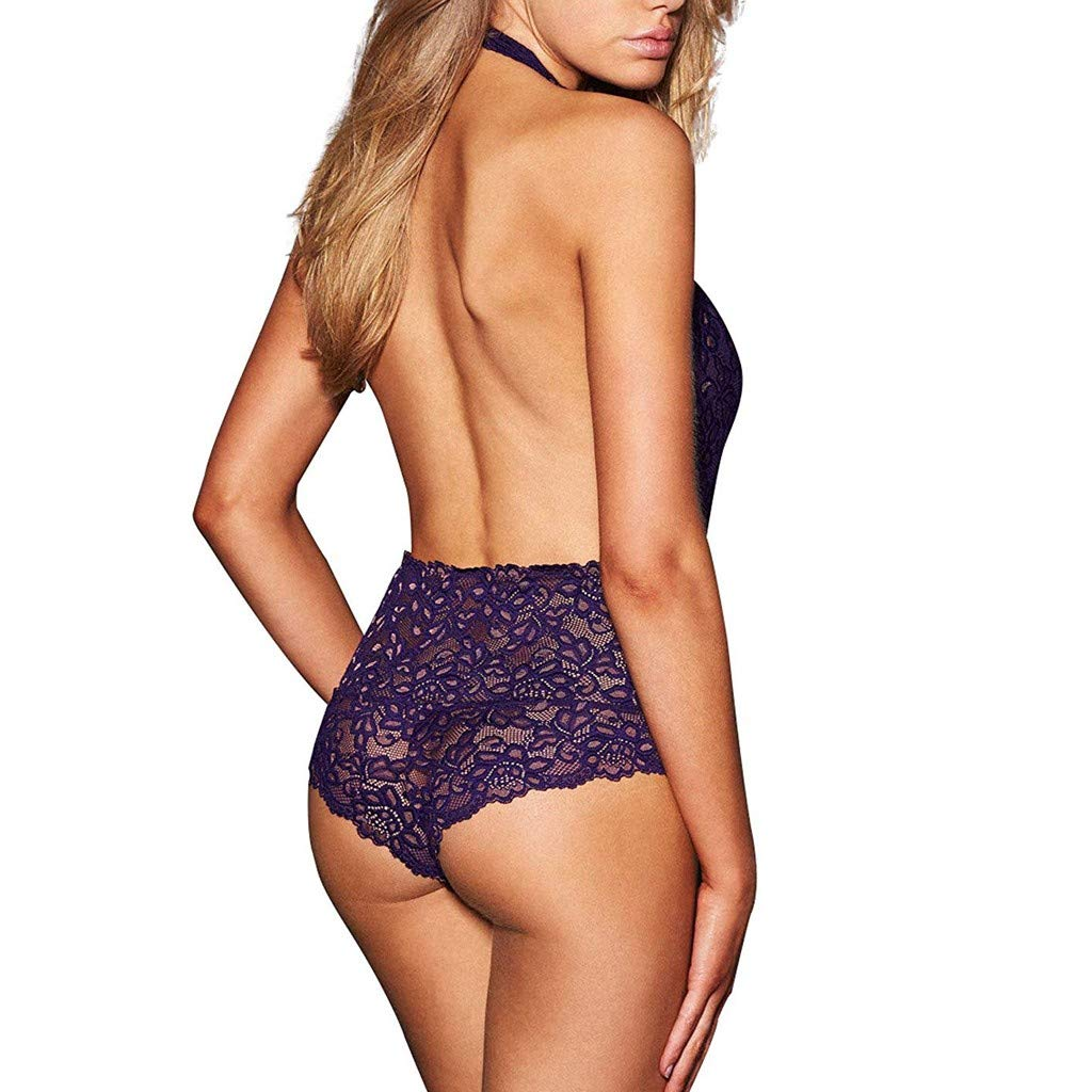 JQjian Deep V Sexy Womens Plus Size Halter Sexy Cute Lingerie Lace Teddy Bodysuit Underwear Backless (L, Purple) by JQjian (Image #2)