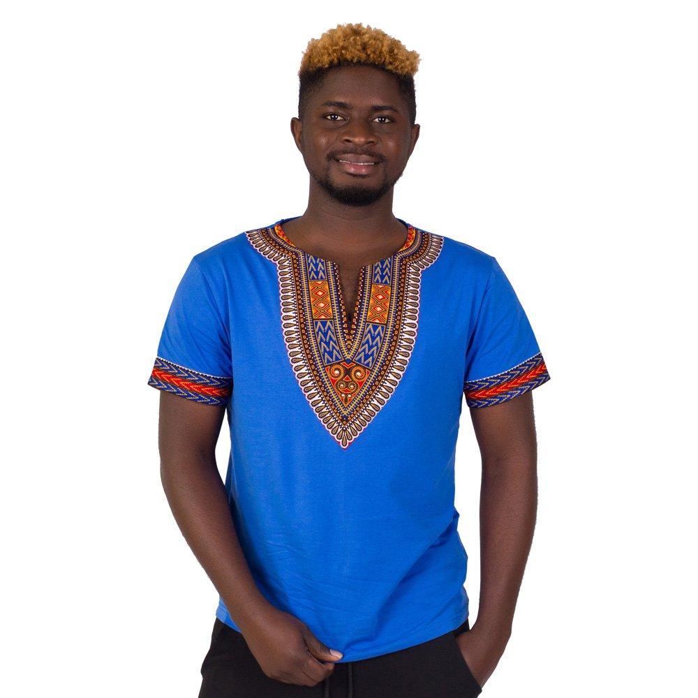 FANS FACE Mens African Print Dashiki T-shirt Summer Short Sleeve Fashion Tops Cotton Shirt