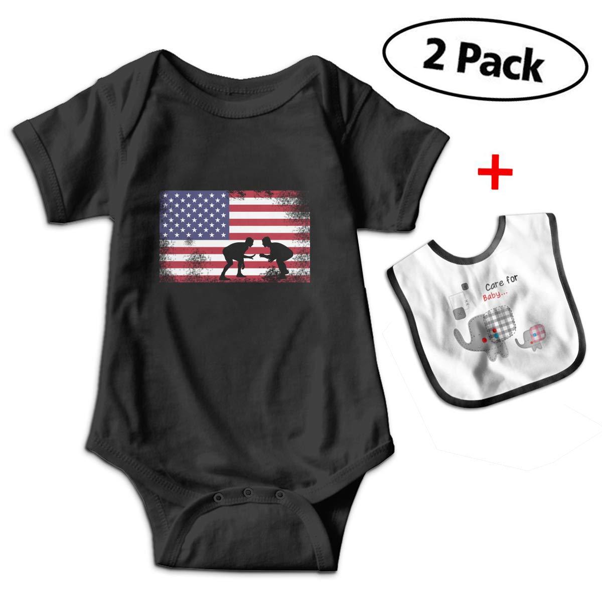 Leopoldson American Flag Wrestling Wrestling Gift Infant Short Sleeve Bodysuits Jumpsuit with Baby Bib